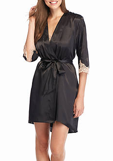 Jones New York Solid Lace Trim Satin Wrap Robe
