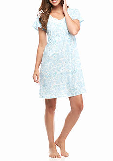Aria Printed Short Sleeve Short Gown
