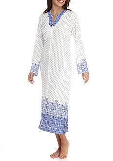 Aria Long Sleeve Long Knit Interlock Caftan