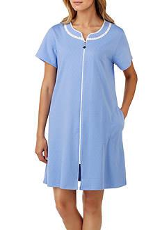 Eileen West Short Sleeve Short Zip Robe