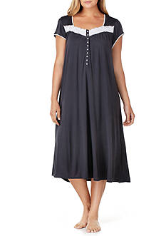 Eileen West Plus Size Short Sleeve Modal Solid Waltz Gown