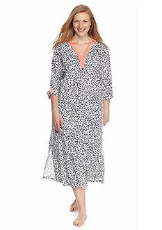 Kim Rogers® Plus Size Knit Caftan Animal Print Gown