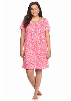 Kim Rogers® Plus Size Short Sleeve Wispy Floral Gown