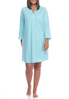 Kim Rogers Plus Size Three Quarter Sleeve Aqua Dot Sleepshirt
