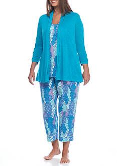 Kim Rogers Plus Size 3-Piece Patchwork Breeze Pajama Set