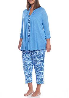 Kim Rogers Plus Size 3-Piece Cat Scratch Pajama Set - 2323917