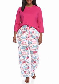 Kim Rogers Plus Size 3-Piece Star Script Pajama Set