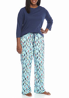 Kim Rogers Plus Size 3-Piece Dot Penguin Pajama Set