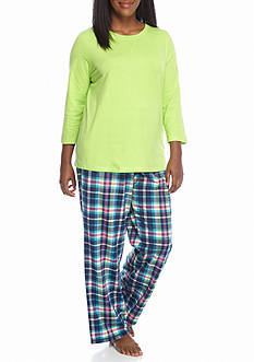 Kim Rogers® Plus Size 3-Piece Owl Plaid Pajama Set