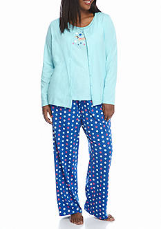 Kim Rogers Plus Size 3-Piece Polka Dot Dog Pajama Set