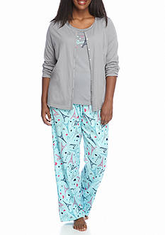 Kim Rogers Plus Size 3-Piece Paris Love Pajama Set