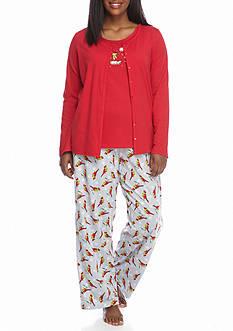 Kim Rogers Plus Size 3-Piece Cardinal Pajama Set