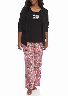 Kim Rogers Plus Size 3-Piece Hootie Owl Pajama Set