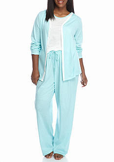 Kim Rogers Plus Size 3-Piece Aqua Dot Pajama Set