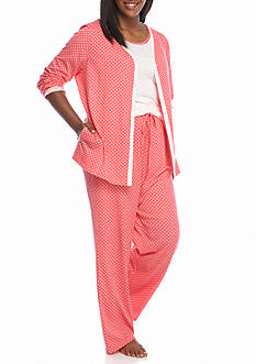 Kim Rogers 3-Piece Plus Coral Dot Pajama Set