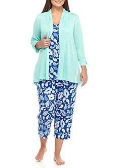 Kim Rogers Plus Size Blue Paisley Pajama Set