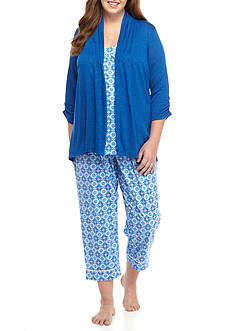 Kim Rogers Plus Size Blue Medallion 3 Piece Pajama Set
