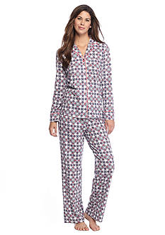 Kim Rogers® Folded 2-Piece Knit Button Front Medallion Pajama Set