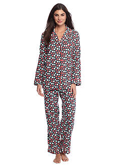 Kim Rogers® Folded 2-Piece Flannel Button Front Dot Pajama Set
