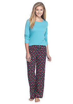 Kim Rogers® Folded 2-Piece Knit & Flannel Dot Pajama Set