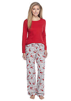 Kim Rogers® Folded 2-Piece Knit & Flannel Cardinal Pajama Set