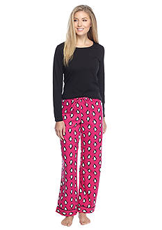 Kim Rogers® Folded 2-Piece Knit & Flannel Penguin Pajama