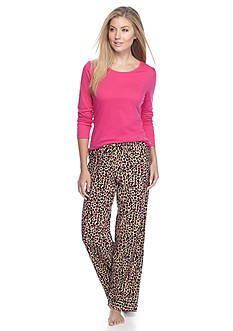 Kim Rogers® Folded 2-Piece Knit & Flannel Animal Pajama