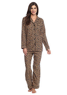 Kim Rogers® Folded 2-Piece Flannel Button Front Animal Pajama Set