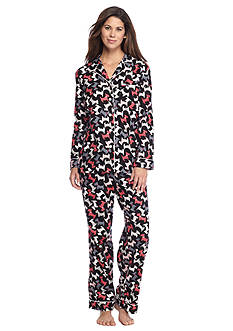 Kim Rogers® Folded 2-Piece Flannel Button Front Scottie Dog Pajama
