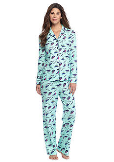 Kim Rogers® Folded 2-Piece Knit Button Front Bird Pajama Set