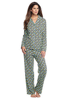 Kim Rogers® Folded 2-Piece Knit Button Front Dot Pajama