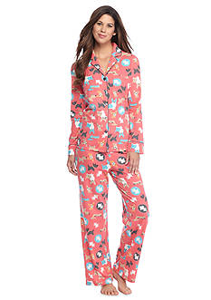Kim Rogers® Folded 2-Piece Knit Button Front Dog Pajama Set