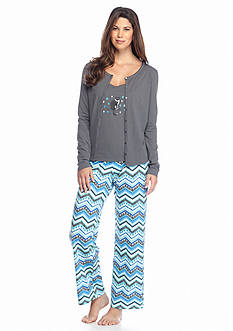 Kim Rogers® Folded 3-Piece Knit Cardigan Chevron Pajama Set