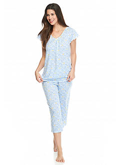 Kim Rogers® Short Sleeve Stripe Medallion Capri Pajama Set
