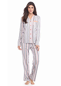 Kim Rogers® 2-Piece Mandarin Collar Dot Pajama Set