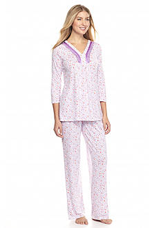 Kim Rogers® 2-Piece Heart Scroll V-Neck Pajama Set