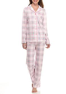 Kim Rogers Long Sleeve Notch Collar Plaid Pajama Set