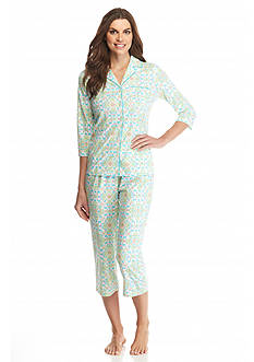 Kim Rogers® Ikat Notch Collar Pajama Set