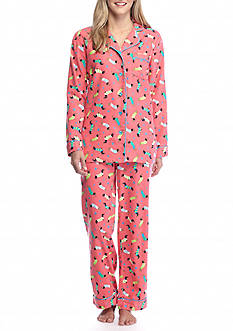 Kim Rogers® 2 Piece Coral Dog Flannel Pajama Set