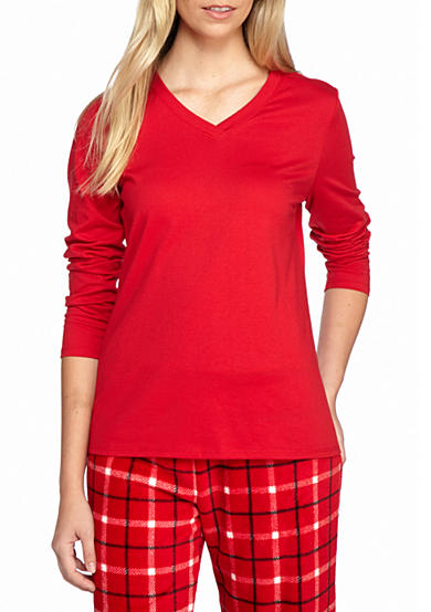 Kim Rogers® V-Neck Solid Long Sleeve Tee