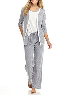 Kim Rogers 3-Piece Gray Wisp Pajama Set