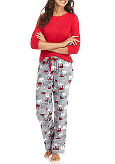 Kim Rogers 3-Piece Houndstooth Elephant Pajama Set