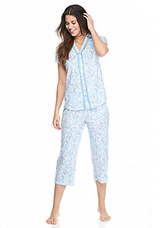 Kim Rogers® 2-Piece Short Sleeve Button Front Paisley Pajama Set