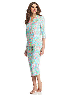 Kim Rogers® Aqua Paisley Notch Collar Pajama Set