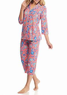 Kim Rogers 2-Piece Notch Collar Coral Medallion Pajama Set
