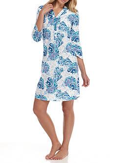 Kim Rogers Three Quarter Sleeve Blue Paisley Sleepshirt