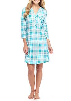 Kim Rogers Three Quarter Sleeve Turquoise Plaid Sleepshirt
