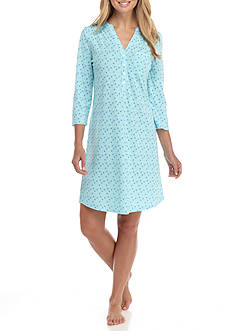 Kim Rogers® Three Quarter Sleeve Aqua Dot Sleepshirt