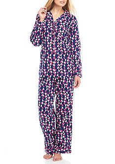 Kim Rogers Two Piece Heart Geo Flannel Pajama Set