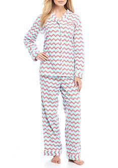 Kim Rogers Two Piece Chevron Flannel Pajama Set